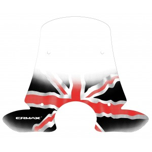 Black and red Union Jack silkscreen for screen and windshield