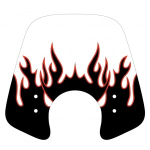 Black and red Flaming silkscreen for screen and windshield