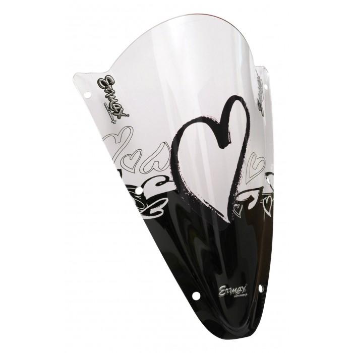 Sérigraphie noire Coeur pour bulle et pare brise