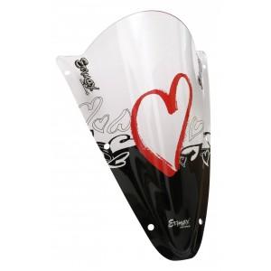 Sérigraphie Coeurs noire et rouge pour bulle et pare-brise