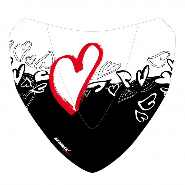 Black and red Hearts silkscreen for nose screen
