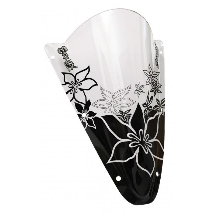 Black Hawaïan Flowers silkscreen for screen and windshield